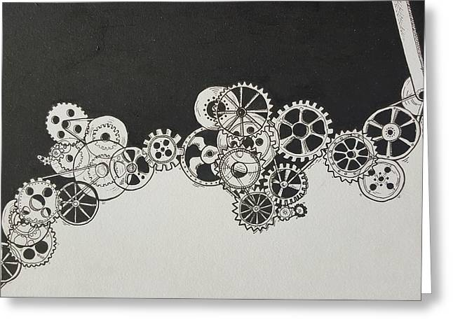 Cogs Greeting Card by Martine Musumeci