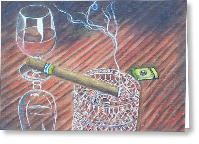 Cohiba And  Wine Greeting Card by Charles Vaughn