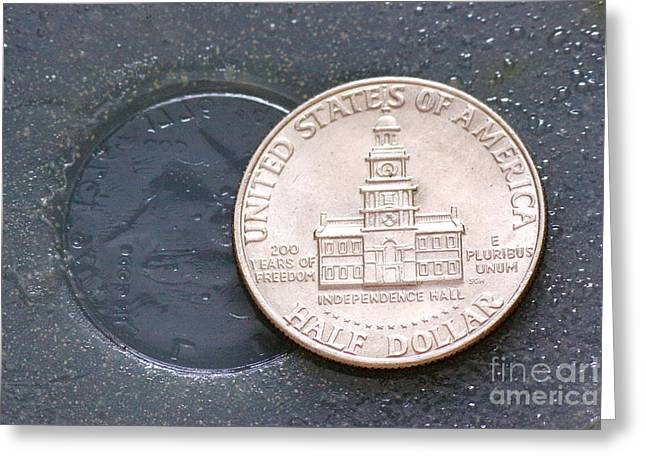 Coin Containing Silver Inhibits Greeting Card by Scimat