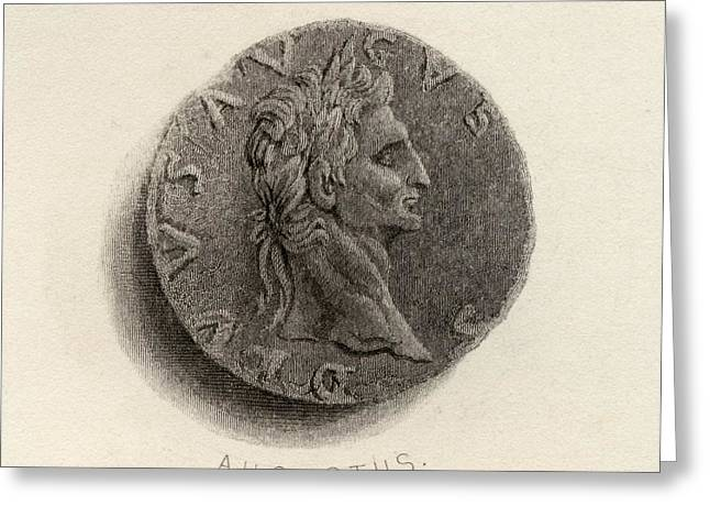 Coin From The Time Of Augustus Born Greeting Card by Vintage Design Pics