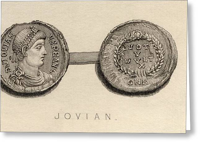 Coin From The Time Ofjovian, Flavius Greeting Card by Vintage Design Pics