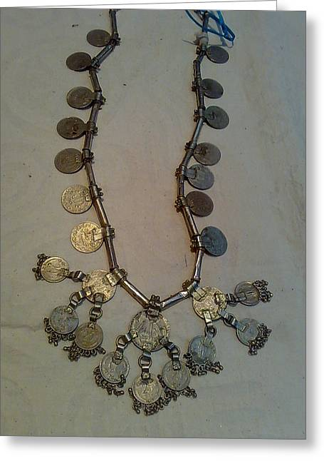 Coins Jewelry Greeting Cards - Coins Necklace Greeting Card by Dinesh Rathi