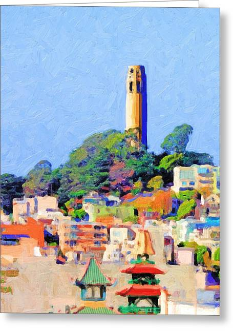 Coit Tower And The Empress Of China - Photo Artwork Greeting Card by Wingsdomain Art and Photography