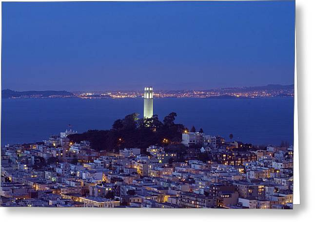 Coit Tower At Dusk San Francisco California Greeting Card by Carol M Highsmith