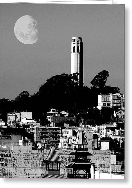 Coit Tower Empress Of China And The Moon - Black And White Greeting Card by Wingsdomain Art and Photography