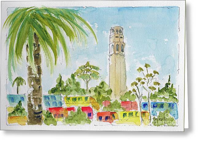 Greeting Card featuring the painting Coit Tower by Pat Katz