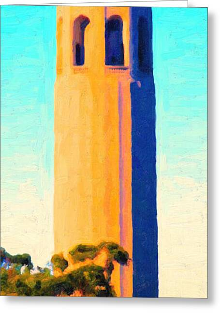 Bayarea Digital Greeting Cards - Coit Tower San Francisco Greeting Card by Wingsdomain Art and Photography