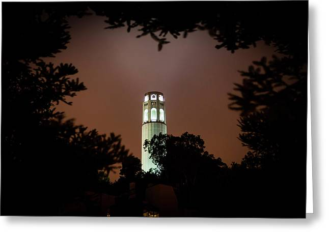 Coit Tower Through The Trees Greeting Card