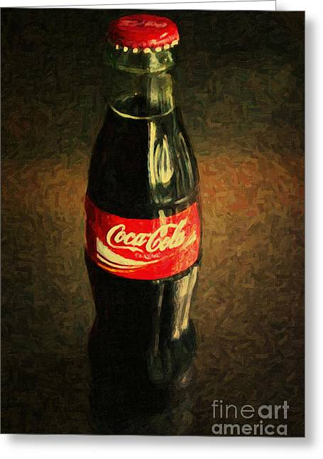 Soft Drink Greeting Cards - Coke Bottle Greeting Card by Wingsdomain Art and Photography