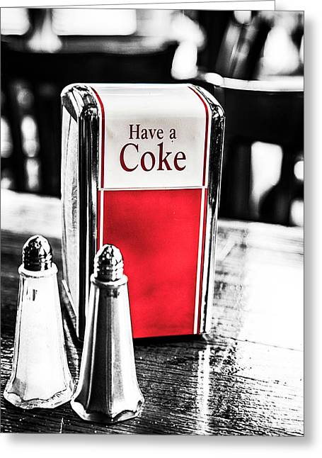 Greeting Card featuring the photograph Coke Napkins by Karol Livote
