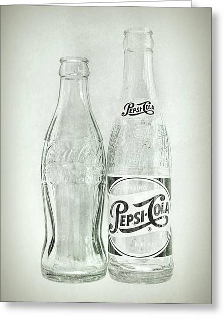 Coke Or Pepsi Black And White Greeting Card by Terry DeLuco