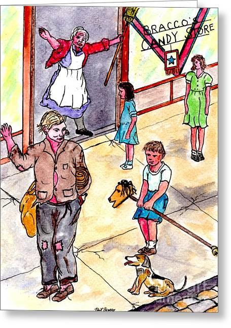 Cokkarella The Local Bum Saluting A Stray Dog Heil Hitler Greeting Card