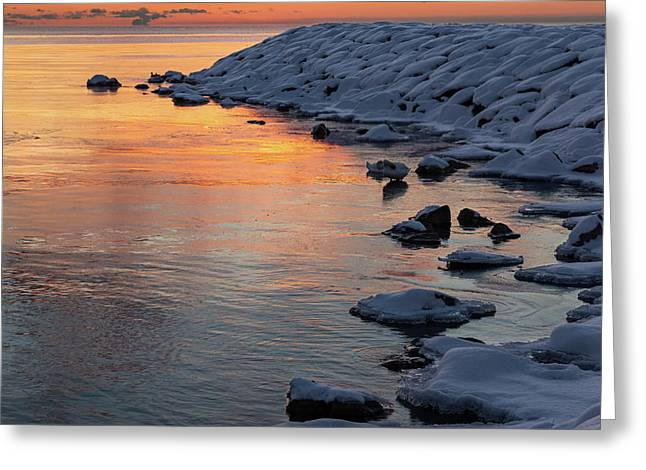 Cold And Hot - Colorful Sunrise On The Lake Greeting Card by Georgia Mizuleva