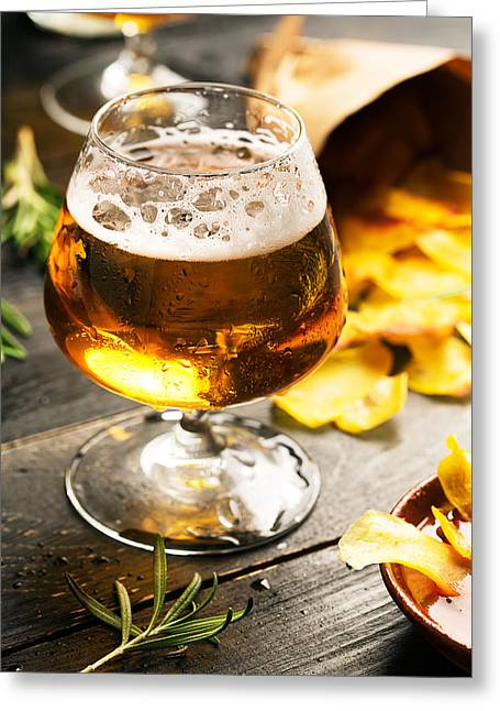 Cold Beer And Delicious Snacks Greeting Card by Vadim Goodwill