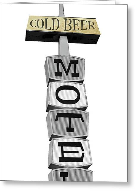 Cold Beer Motel Retro Sign Greeting Card by Mindy Sommers