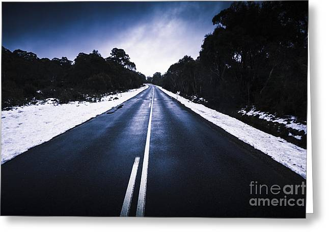 Cold Blue Highway Greeting Card by Jorgo Photography - Wall Art Gallery