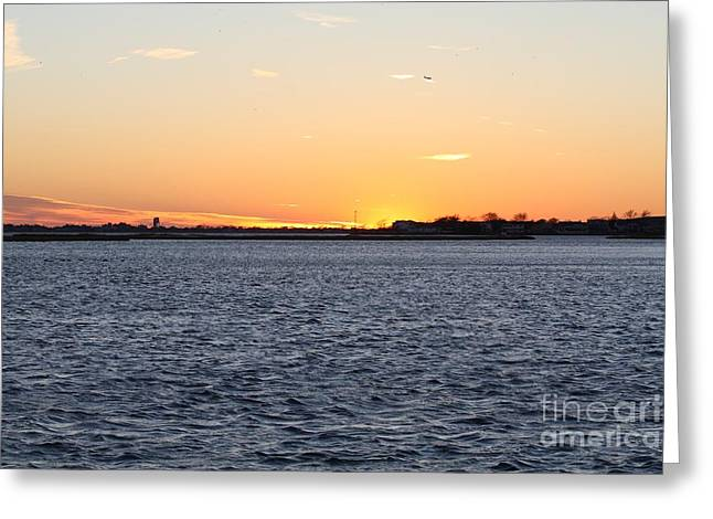 Cold Fall Sunset Over Freeport Ny Greeting Card by John Telfer