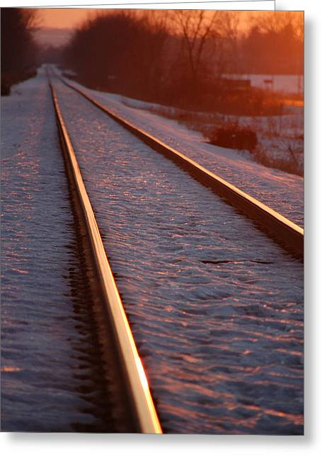 Cold Line Sunset Greeting Card
