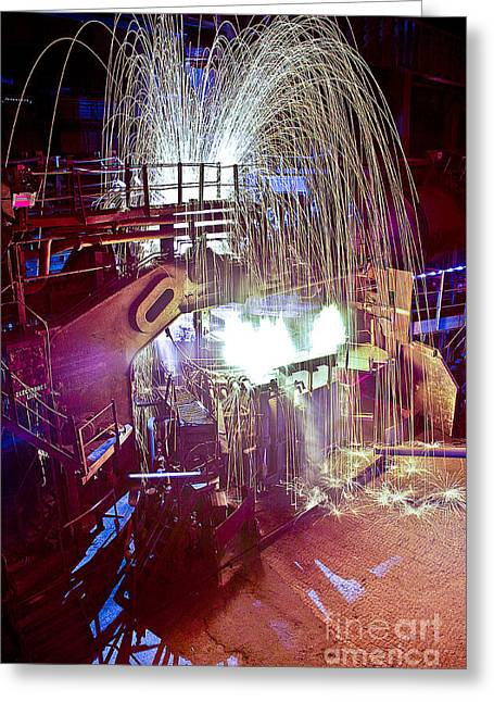 Arc Furnace Greeting Cards - Cold Steel Melts Greeting Card by Martin Jones
