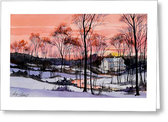 Cold Sunset Greeting Card by Art Scholz