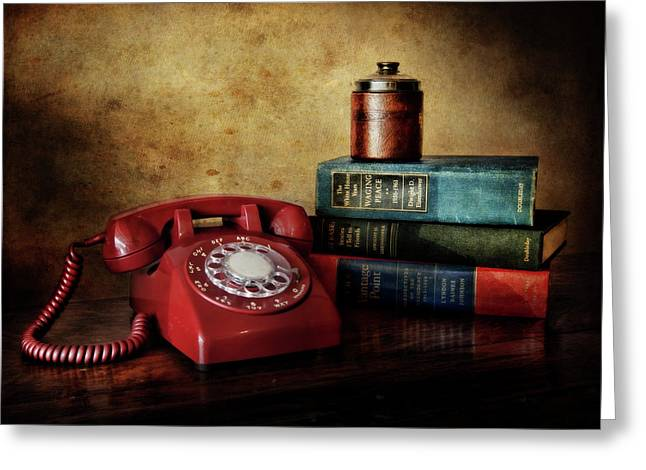 Cold War Red Telephone Greeting Card