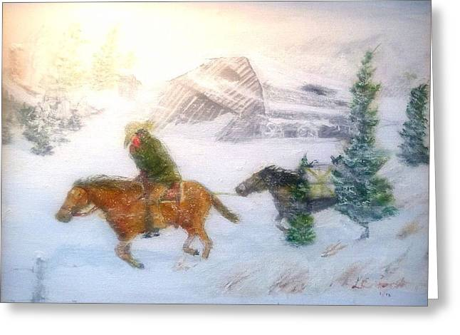 Cold Wind Oklahoma Artist Larry Lamb  Greeting Card by Larry Lamb