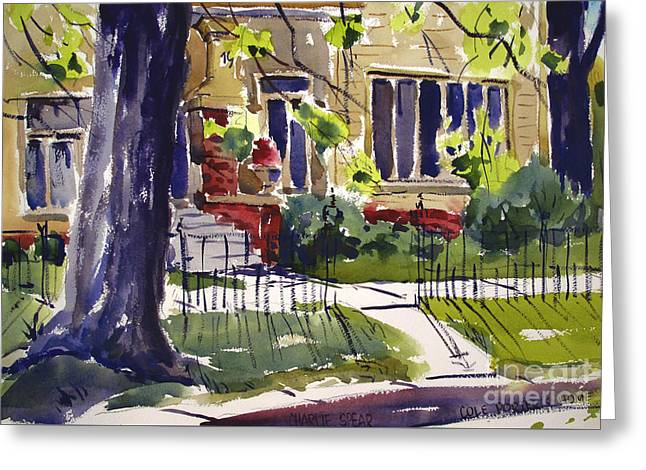 Cole Porters Birthplace, 19 S. Huntington St. Peru In Framed Matted Glassed Greeting Card