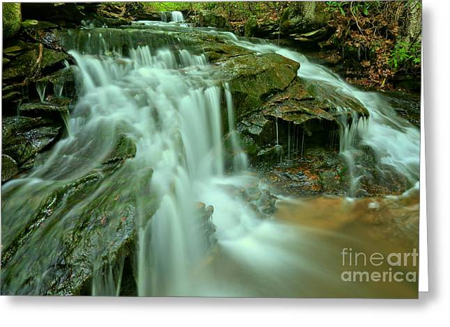 Cole Run Cave Falls Greeting Card by Adam Jewell