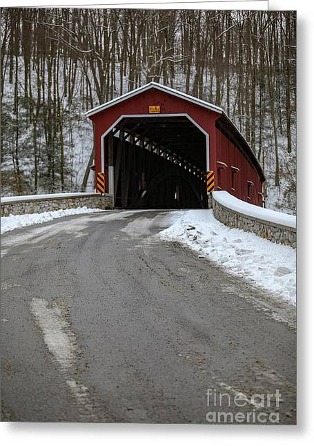 Colemansville Covered Bridge After Winter Snow Greeting Card