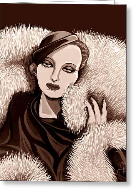 Colette In Sepia Tone Greeting Card by Tara Hutton