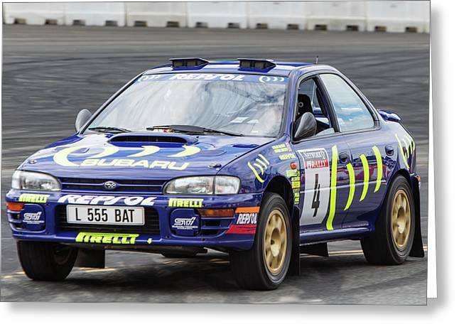 Colin Mcrae's Subaru Impreza Greeting Card by James Aldebert