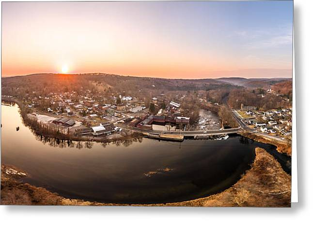 Greeting Card featuring the photograph Colinsville, Connecticut Sunrise Panorama by Petr Hejl