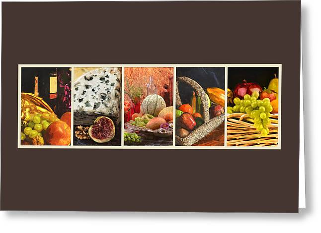 Collage  Of Fresh Fruit Paintings Greeting Card by Elaine Plesser