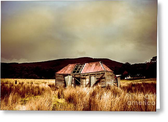 Collapsing Old Wooden Farm Building Greeting Card