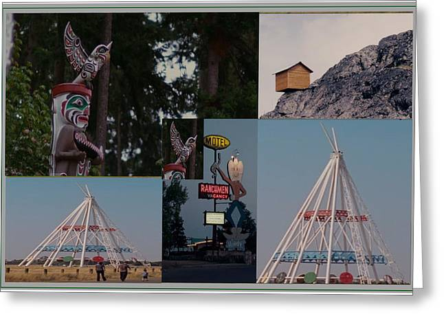 Collection Of Canadian Landmark Roadshows On Way To Canada West  Greeting Card