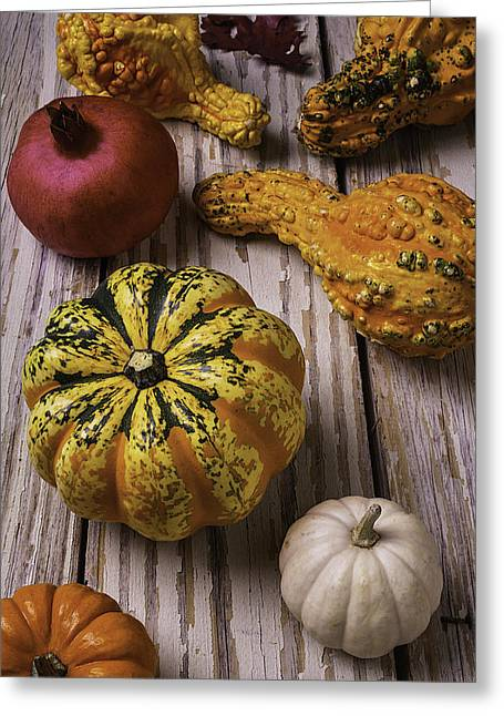 Collection Of Gourds Greeting Card by Garry Gay