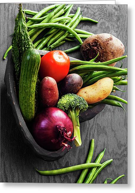 Collection Of Vegetables Still Life With Grey Background Greeting Card by Vishwanath Bhat