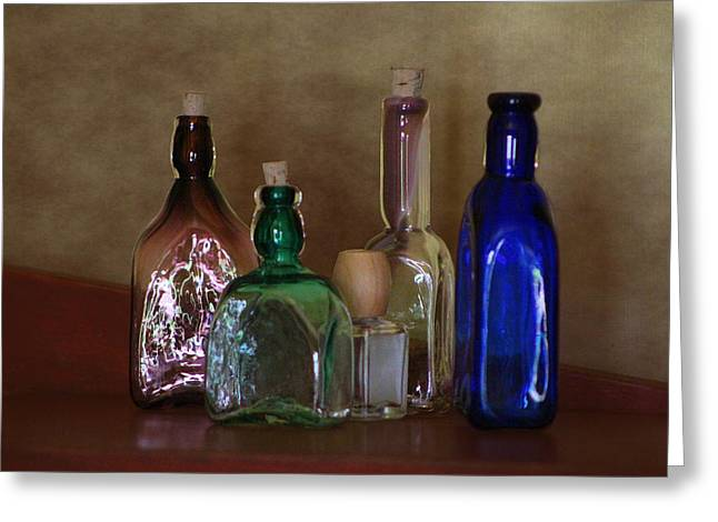 Collection Of Vintage Bottles Photograph Greeting Card