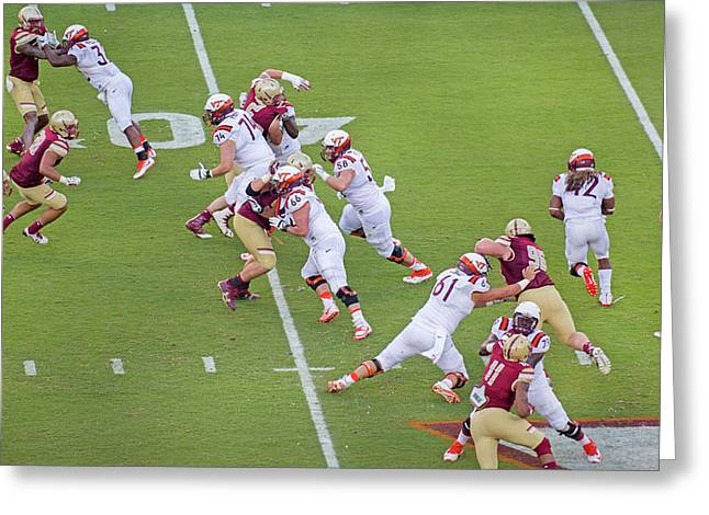 College Football Vt And Boston College Greeting Card by Betsy Knapp