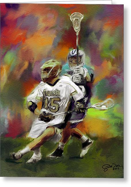 College Lacrosse 13 Greeting Card by Scott Melby