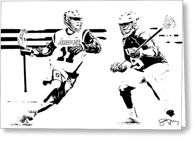 College Lacrosse 22 Greeting Card by Scott Melby