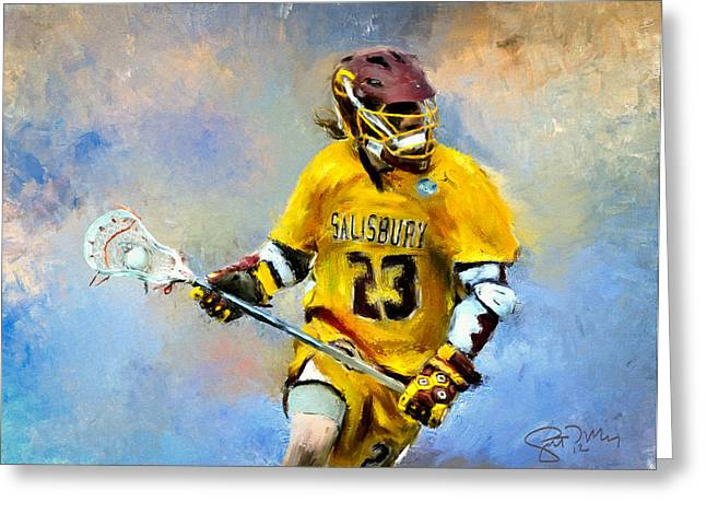 Scott Melby Greeting Cards - College Lacrosse 9 Greeting Card by Scott Melby