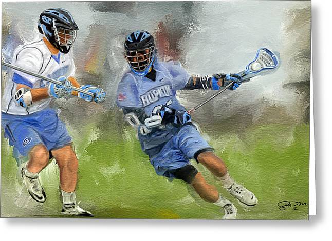 College Lacrosse Attack Greeting Card