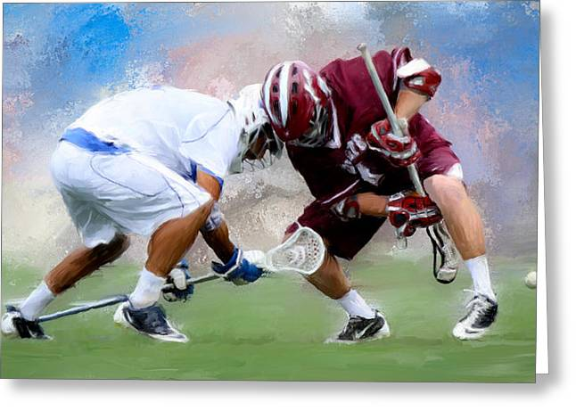 Scott Melby Greeting Cards - College Lacrosse Faceoff 4 Greeting Card by Scott Melby