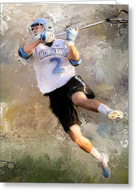 College Lacrosse Shot 2 Greeting Card