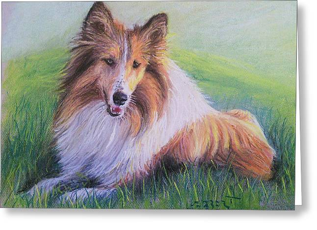 Collie Greeting Card by Dave Luebbert