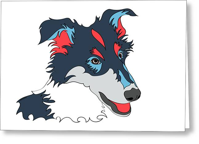 Collie Graphic Art - Dog Art - Wpap Greeting Card by SharaLee Art