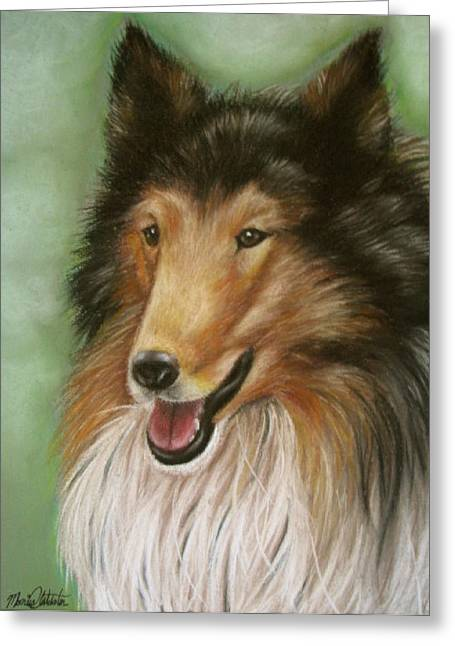 Canines Art Pastels Greeting Cards - Collie Greeting Card by Monica  Webster