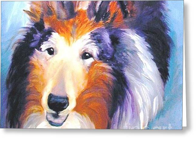 Collie Sable Rough 2 Greeting Card by Susan A Becker
