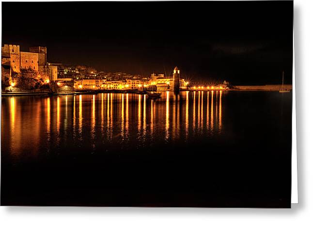 Collioure At Night Greeting Card